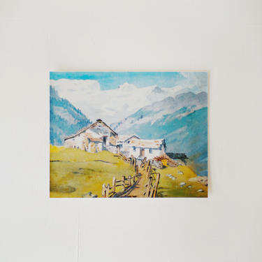 Vintage Oil Painting Print, Swiss Mountain Print, Cabin in the Switzerland Mountains, Blues and Greens, Gift for Him Her by cedargrey