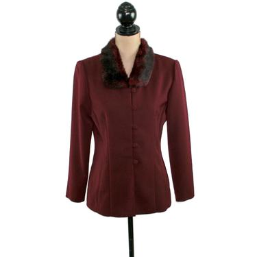 Burgundy Fitted Blazer, Shoulder Pad Jacket with Faux Fur Collar, Winter Clothes Women, Vintage Clothing from Jessica Howard Petite by MagpieandOtis
