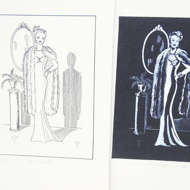 2 Antique 1940's Original Art, Sylvia Baird Vintage Fashion Advertisement Illustration Design Paintings, Elegant Woman in Dress & Furs by exploremag
