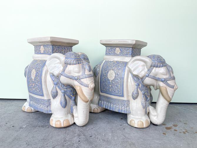 Pair Of Blue And White Elephants