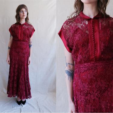 Vintage 40s Merlot Lace Gown with Satin Slip/ 1940s Button Up Maroon Dress/ Size Medium by bottleofbread