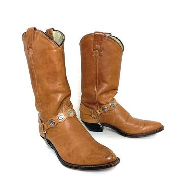 Vintage 1970s Women's Cowboy / Harness Boots ~ size 7 M ~ Western ~ Hippie / Boho ~ Rockabilly ~ Biker ~ Stacked Heel / Concho by SparrowsAndWolves