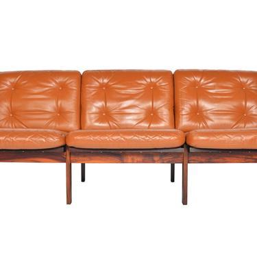 Danish Mid Century Modern Illum Wikkelsø Rosewood + Leather Capella Three Seat Sofa by MidCenturyMobler