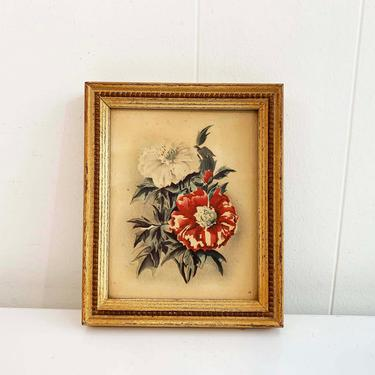 True Vintage Framed Floral Print Lambert Made in USA 60s 1960s Print Wooden Brown Frame Lithograph Litho Red White Poppy Flowers by CheckEngineVintage