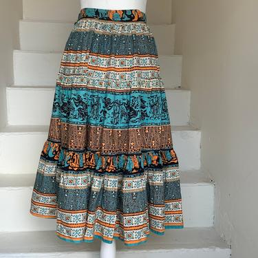 1940s Grecian Mosaic Patterned Cotton Skirt Tiered Ruffle Summer Skirt Vintage 26 Waist by AmalgamatedShop