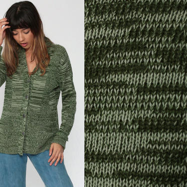 Boho Cardigan Green Space Dye Sweater 70s Hippie Dark Green 1970s Bohemian Striped Button Up dyed Seventies Hippie Medium by ShopExile