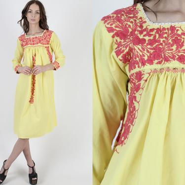 Long Sleeve Oaxacan Dress / Yellow Cotton Mexican Dress / Womens Pink Hand Embroidered Traditional Dress / Made In Mexico Mini Dress by americanarchive