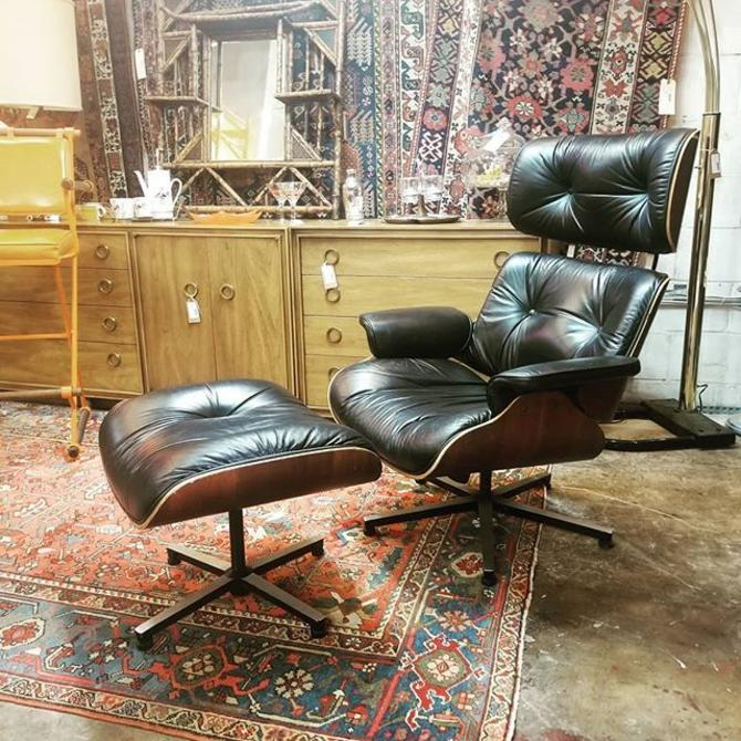 Eames style recliner with ottoman.