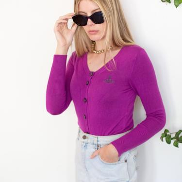 Vintage VIVIENNE WESTWOOD Anglomania Purple Orb Detail Cardigan Sweater sz XS S Button Up Knit by backroomclothing