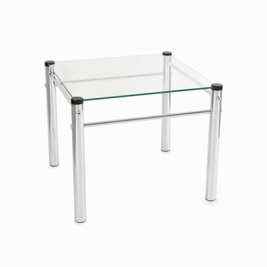 Mid Century Small Glass Top Metal Side Table by VintageInquisitor
