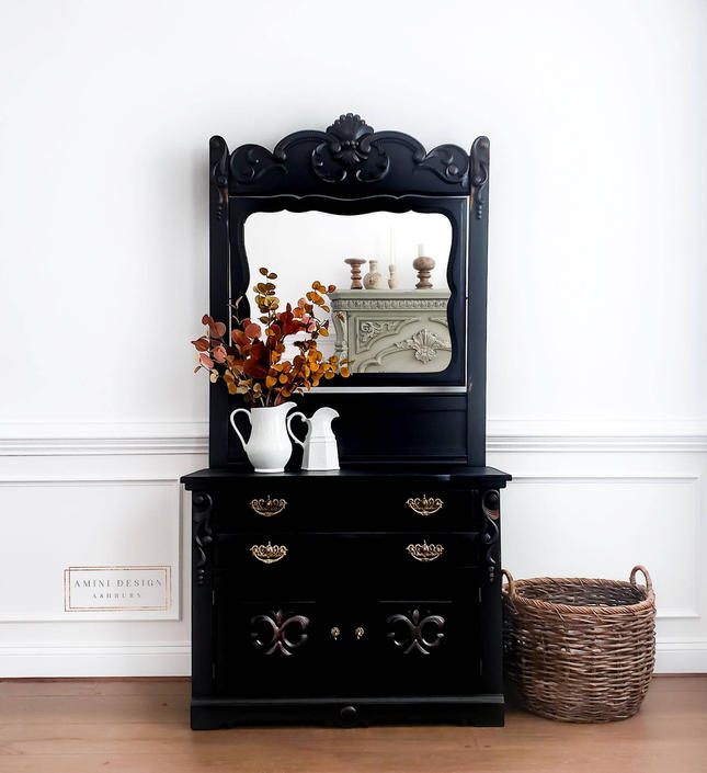 Antique, Eastlake Style, Victorian Style, Dresser, Cabinet, Mirror, Painted Furniture by AminiDesignAshburn