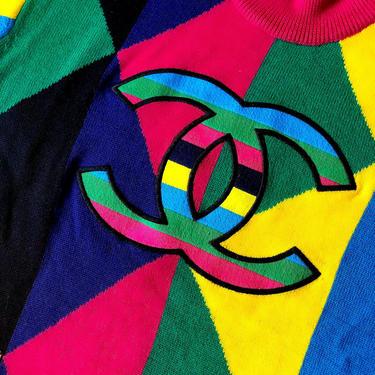 Vintage 90's CHANEL Huge CC Logo Monogram Multicolor Knit Sweater Blouse Top - Rare! by MoonStoneVintageLA