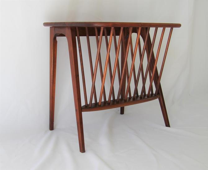 Mid Century Modern Walnut Side Table with Magazine Rack by Arthur Umanoff by WrightFindsinMCM