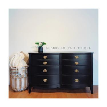 NEW! Black Dresser 6 drawer chest of drawers - Antique Vintage bow front mahogany dresser - San Francisco Bay Area by ShabbyRootsBoutique