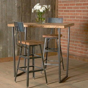 """Stool or chair with steel back in three heights (18"""" table height, 25"""" counter height, 30"""" bar height"""").  Choice of wood finish and height. by UrbanWoodGoods"""