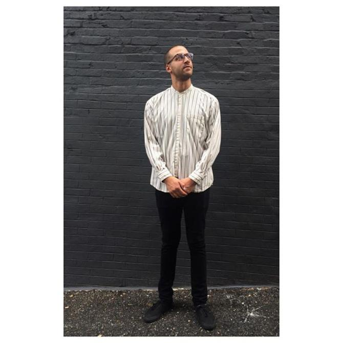 Kamyar of @timeisfireband looking handsome in his new 1980s Dockers collarless button-down #cotd #meepsdc #dockers #1980s #Nehru #dcmusic #kamyar #timeisfire