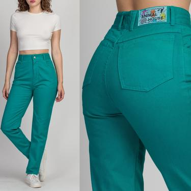 """90s Teal High Waisted Animal House Jeans - Small, 27""""   Vintage Denim Tapered Leg Mom Jeans by FlyingAppleVintage"""