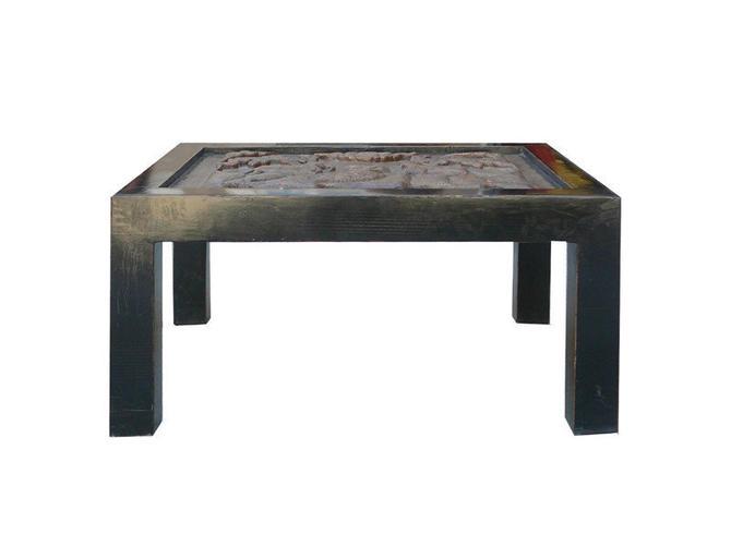 Heavy Thick Concrete Art  Rectangular Black Wood Frame Coffee Table cs578 by GoldenLotusAntiques