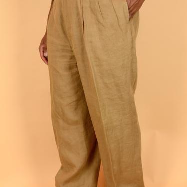 Vintage Brown Linen Pleated Trousers Pants Eddie Bauer 35x31 35x30 35x32 34x31 34x30 34x32 36x30 36x30 36x32 by MAWSUPPLY
