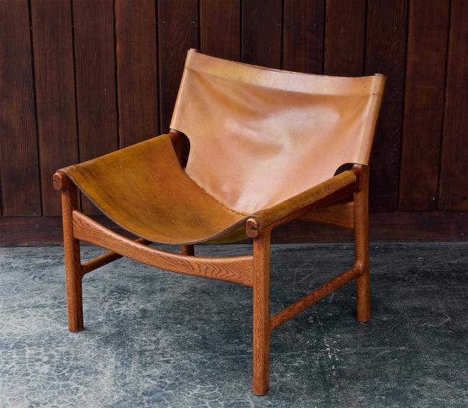 Rare Illum Wikkelso Leather Sling Chair Vintage Danish Studio Craft Mid-Century Scandinavian Armchair Easy by BrainWashington