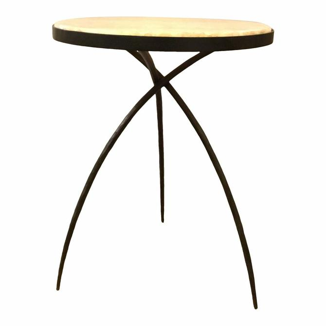 Modern Large Iron and Onyx Tripod Accent Table