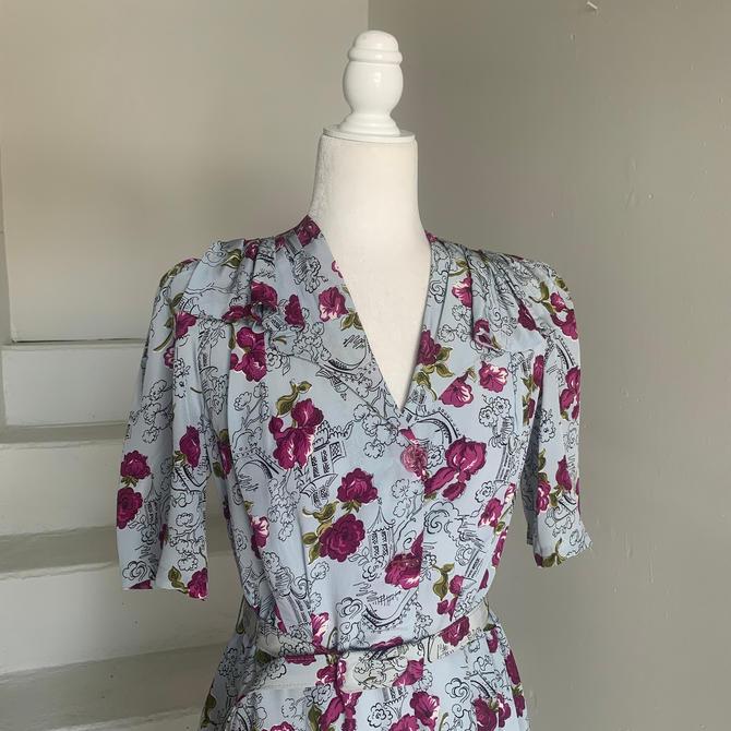 Lovely 1940s Pale Blue Rayon Novelty Print Dress Pagodas Petunias Roses Vintage 38 Bust by AmalgamatedShop