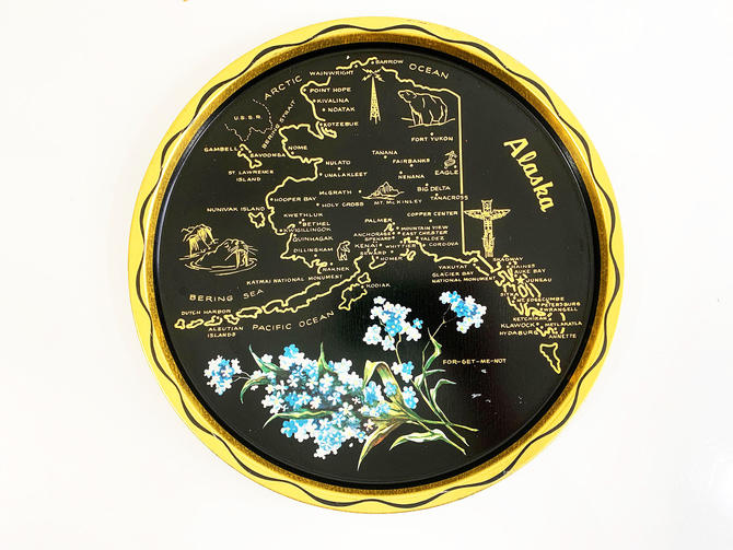 Vintage Metal Alaska Drink Tray Plate Souvenir Retro Round Tiki For-get-me-Not Mid-Century Barware Forget-me-Not Scorpion Grasses Floral by CheckEngineVintage