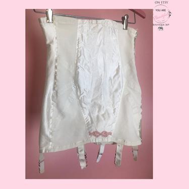 50's White GIRDLE - 6 Garters - Vintage Lingerie 1950's Satin Boned Open Bottom Girdle Corset RARE by Poirette, Fetish Underwear, 1940's by Boutique369