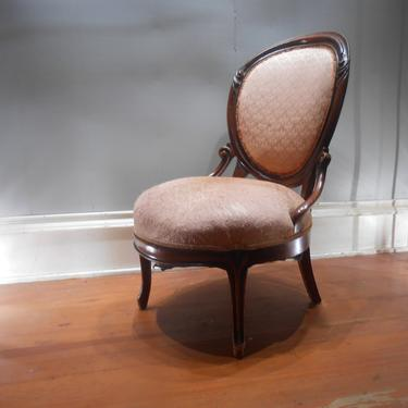 Antique Victorian 19th Century Parlor Chair Ladies Seating Mahogany Wood Boudoir Upholstered Round Back Decorative Accent Entryway Desk by kissmyattvintage