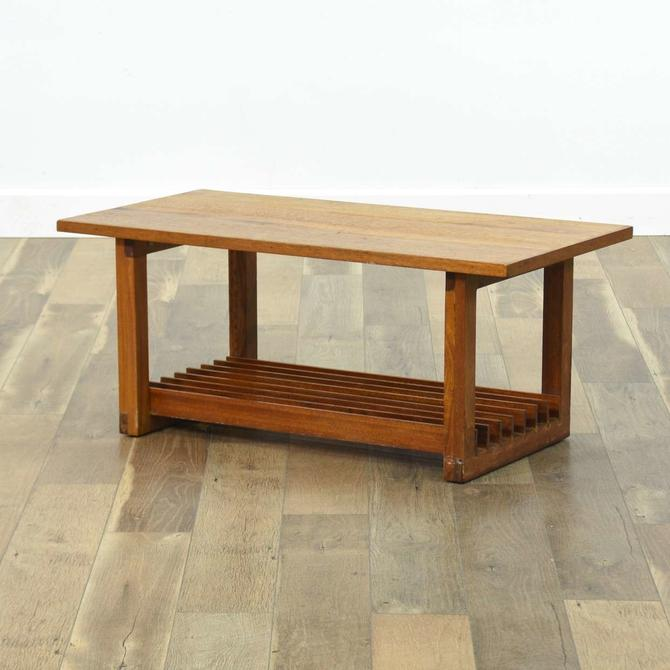 Danish Modern Coffee Table W Slat Tier Storage
