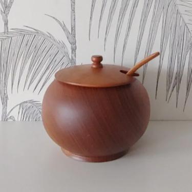 Vintage Teak Bowl with Spoon, Sugar or Salt, circa 60's by DecoDiscoDecor
