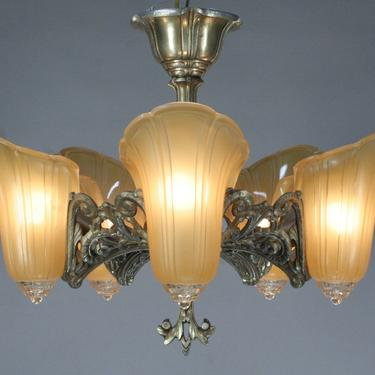 """Art Deco Semi-Flush 5 Light Chandelier, the """"Normandy"""" #2047  SHIPPING INCLUDED by vintagefilament"""