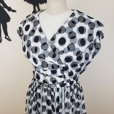 Vintage 1950's Polka Dot Cocktail Dress / 50s Formal Circle Skirt Dress XL by SilhouettetsyVintage