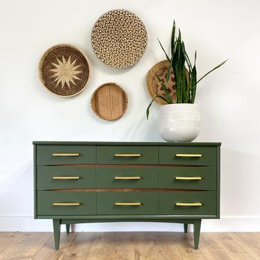 AVAILABLE-  Modern Green + Wood Dresser by JulieSimpleRedesign