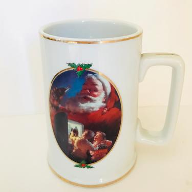 Vintage Tankard Beer Stein mug cup Coca Cola Santa 1996 collector edition by Haddon Sundblom for Coca Cola advertising by JoAnntiques