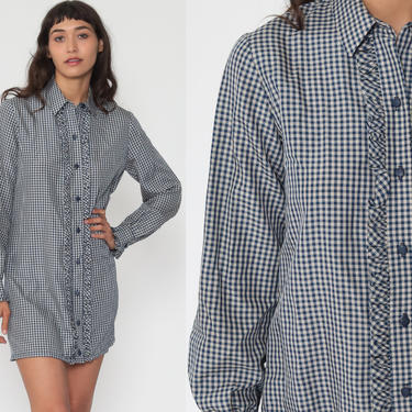 1960s Mod Dress TUXEDO Ruffle Dress Gingham Plaid Mod Mini Shift 60s Shirtdress Vintage Twiggy Dolly Blue Button Up Navy Blue White Small by ShopExile