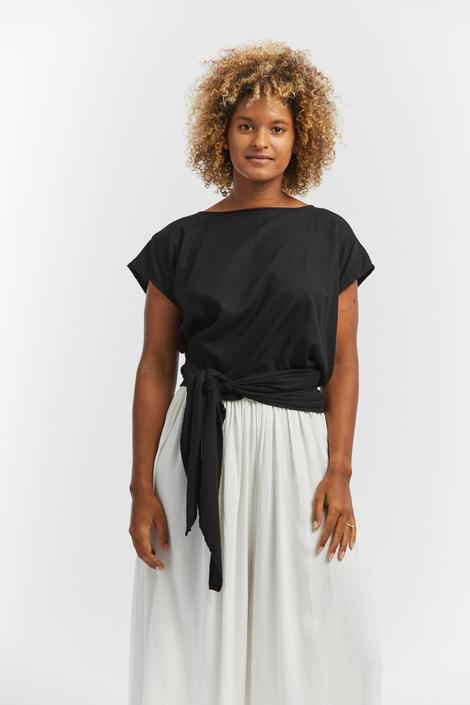 Hassinger Top, Silk Noil in Black
