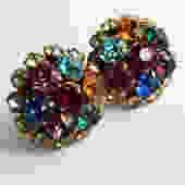 Large 1930s Fruit Salad Rhinestone Earrings by LegendaryBeast