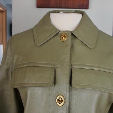 Bonnie Cashin Sills Green Leather Jacket Skirt Suit by Walkingtan