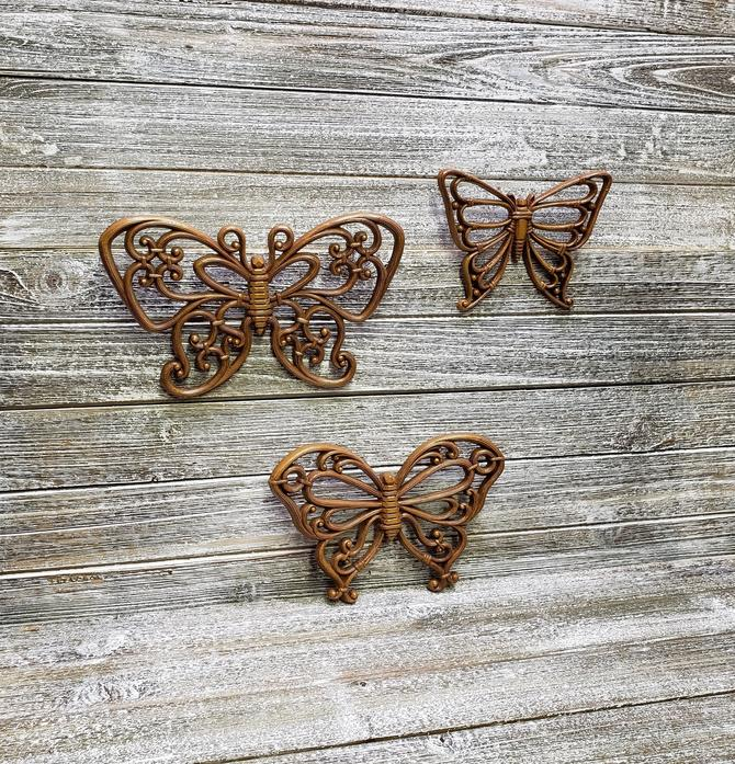 3 Vintage Butterflies Wall Hangings, Mid Century Boho Decor, Syroco Products Butterfly Wall Art, 1970s Homco Butterflies, Vintage Home Decor by AGoGoVintage