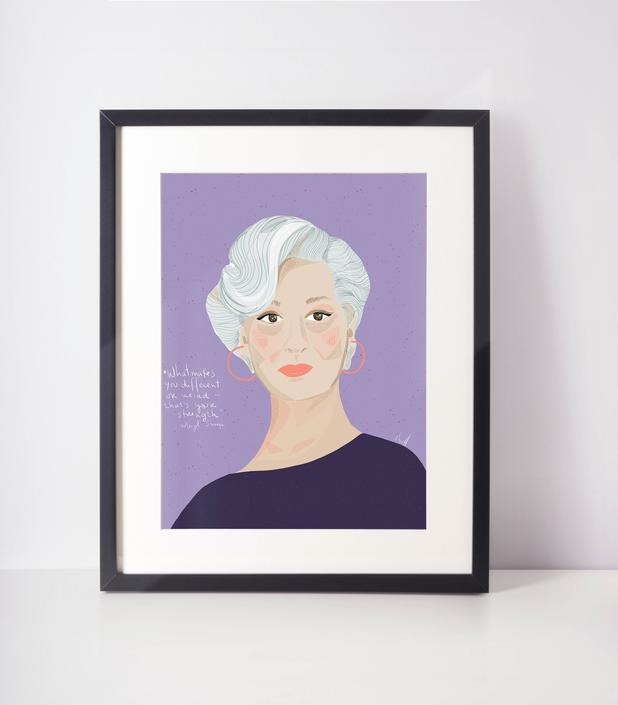 Meryl Streep - Celebrity portrait- Iconic women - Hollywood queen- Cubicle Decor - Office Art- Wall Art by VioletredStudio