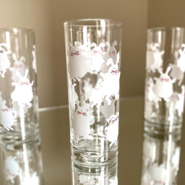White Bunny Tumblers - Easter Glassware - Set of 4 by AntiquetoChicChicago