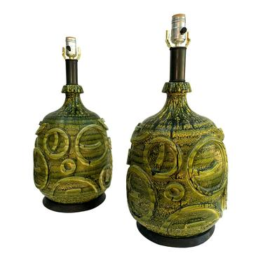Mid Century Modern Pair of Green Table Lamps Bitossi Style by TheModernHistoric