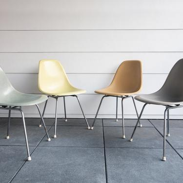 SOLD | Vintage Eames Multicolored Set Charles Eames for Herman Miller Set of 4 Fiberglass Shell Dinning Chairs by GoodWilson