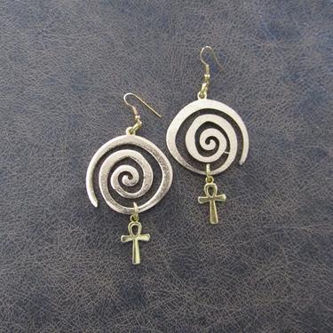Egyptian earrings, Ankh earrings, bold statement earrings, ethnic brass earrings, fertility symbol earrings, vortex spiral earrings by Afrocasian