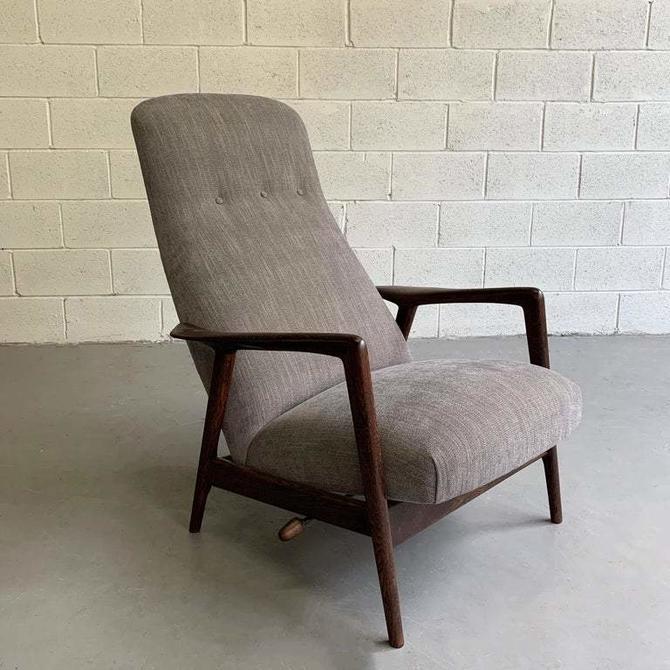 Upholstered Reclining Oak Lounge Chair by Yngve Ekström for Pastoe