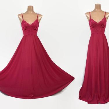 "VINTAGE 70s Rare OLGA Mai Tai Red Nylon Lace Full Sweep Nightgown | Stretch Hug Bodice | Full 144"" Skirt | Body Silk Style # 9683 Medium by IntrigueU4Ever"