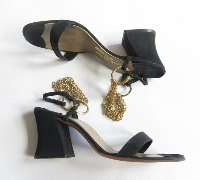 84ca127ac79 1960s Shoes   60s Mod Sandals   Open Toe Chunky Heel Shoes in Black Satin  Gold