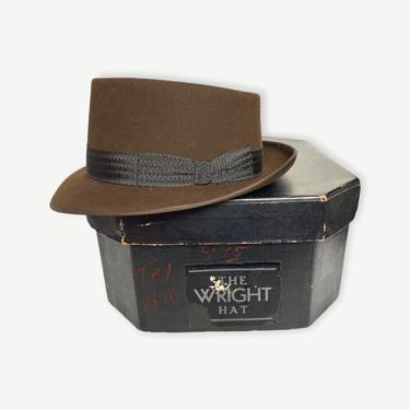 Vintage 1960s WRIGHT Porkpie Fedora w/ Box ~ size 7 1/8 ~ 60s Hat ~ Bound Edge / Stingy Brim ~ Fur Felt ~ Trilby by SparrowsAndWolves