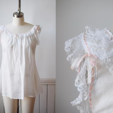 Antique Edwardian Camisole | S | c. 1900 Cotton and Lace Blouse / Cami / Top with Ribbon Detail | Long Line by wemcgee